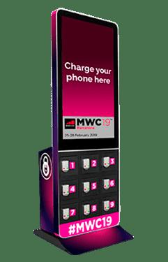 Estación de carga de móviles con pantalla para eventos