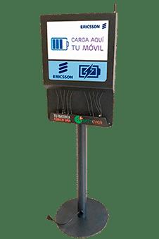 Estación de carga para móviles con pantalla OOH DOOH